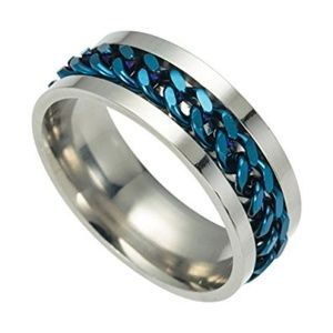 Other - SS Blue Chain Rotating Spinner Ring New